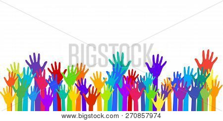 Colorful Raised Hands Group Art