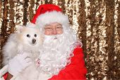 Santa Claus. Santa Claus poses with a Dog for a Christmas Photo Shoot. Gold Sequin background. Chris poster