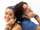 picture of mobile-phone  - Young couple using a mobile phone - JPG
