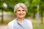 old age, retirement and people concept - portrait of happy senior woman at summer park poster