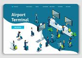 Website Template Landing Page Isometric Concept International Airport, Airport Terminal, Baggage Rec poster