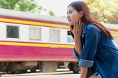 Traveler Young Woman Feeling So Hot And Tired While Waiting Someone At Train Station In Summer Seaso poster