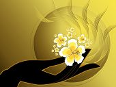 Buddha'S Hand And White Hibiscus (Vector)