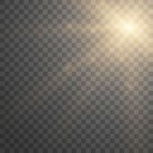 Lens Flare Light Effect. Sunlight A Translucent Special Design Of The Light Effect. Sun Rays With Be poster