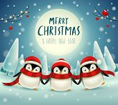 Cute Little Penguins Under The Moonlight In Christmas Snow Scene Winter Landscape. Christmas Cute An poster