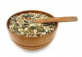 Flax, pumpkin, sesame and sunflower seeds healthy mix