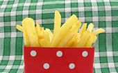 image of pommes de terre frites  - French fries potato in red box with white spots - JPG