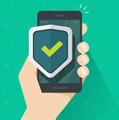 Mobile Phone Security Protection Vector Illustration, Flat Cartoon Smartphone Protected With Shield  poster