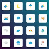 Climate Icons Flat Style Set With Lightning, Sun, Crescent And Other Sunny Elements. Isolated  Illus poster