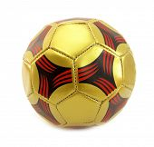 Ball football soccer golden red and black isolated on white