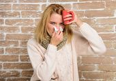 Tips How Get Rid Of Cold. Remedies Should Help Beat Cold Fast. Woman Feels Badly Ill Sneezing. Cold  poster