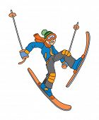 Man is skiing cartoon vector illustration