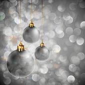 Fundo de Natal com luzes cintilantes e Orbs prata | EPS10 Vector | Camadas organizadas e Nam