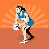 stock photo of netball  - Vector art on the sport of netball - JPG