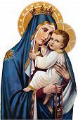 Mary Nazareth  Orthodox Church Baby Jesus Theotokos Holy Illustration poster