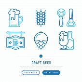 Craft Beer Thin Line Icons Set: Mag With Foam,  Wheat, Bottle Opener, Manufacturing, Brewing, Tulip  poster