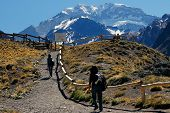Aconcagua, the highest mountain in the Americas at 6.960 mts., located in the Andes mountain range i poster