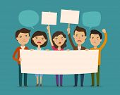 Crowd Of People Protesting. Protest, Outcry, Deprecation Concept. Cartoon Vector Illustration poster