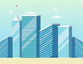 Concept Modern City Construction Buildings. Vector Illustration Cartoon Panorama Cityscape Modern Sm poster