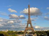 Paris. Eiffel Tower From Trocadero. Rainy Day, Sunset. poster