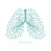 Lungs With Foliage. Healthy Ecological Lungs With Leaves Anti Tuberculosis Concept Vector Illustrati poster