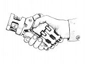 Business Human And Robot Hands Shake. Concept Future Business Illustration. Future Concept Connectio poster