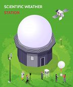 Colored Isometric Meteorological Weather Center Composition With Scientific Weather Station Descript poster