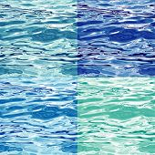Seamless Water Surface Pattern Variations, editable  vector illustrations
