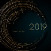 Circle Gold Futuristic Lines 2019 New Year Blue Background Modern Creative Design Element Luxury Fut poster