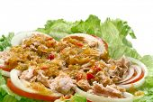 Thai spicy Tuna with Green salad onion and tomato, closeup poster