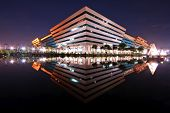BANGKOK, THAILAND-SEP 25: Landscape of Government Complex Building shines at Dusk on Sep 25,2010 in