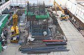 construction earthmover loader blackhoe in building site