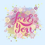 Love You On Pink Background With Flowers. poster