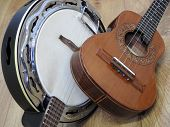 Close-up Of Two Brazilian String Musical Instruments: Samba Banjo And Cavaquinho. They Are Widely Us poster