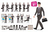Business Man Vector Characters Set. Cartoon Character Creation Of Male Office Person Holding Briefca poster