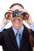 businesswoman looking through binoculars into the future,  isolated on white background