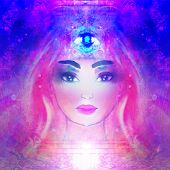 Woman With Third Eye, Psychic Supernatural Senses , Raster poster