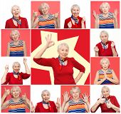 The Collage From Different Emotions Of Senior Woman. Old Woman With Surprised Expression On Her Face poster