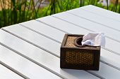 Tissue paper box made by basketry bamboo on white table