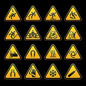 Set simple triangular warning symbols Hazard Signs