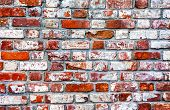 Grunge Weathered Red Brick Wall As Background Texture. Bricks Masonry With Uneven Seams poster