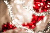 Bright Round Vivid Christmas And New Year Decoration Ornament Bokeh Red And Silver poster