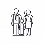 European Family Line Icon Concept. European Family Vector Linear Illustration, Symbol, Sign poster