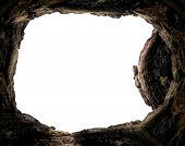 Resurrection Of Jesus Christ Concept: Empty Tomb Stone Isolated On White Background poster