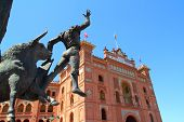 Madrid bullring Las Ventas Plaza Monumental with toreador statue