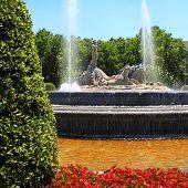 Madrid Neptuno fountain in Paseo de la Castellana Spain