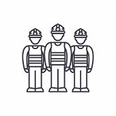 Production Team Line Icon Concept. Production Team Vector Linear Illustration, Symbol, Sign poster