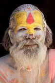 KATHMANDU, NEPAL - NOVEMBER 04: sadhu holy man meditates on  November 04, 2010 in ashupatinath templ