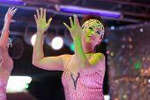 transgender thai singing on stage during night show, pattaya, thailand
