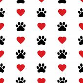 Dog Paw Cat Paw Heart Love Puppy Foot Print Kitten Valentine Vector Seamless Pattern poster